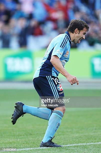 Alessandro del Piero of Sydney FC celebrates scoring a penalty in his 800th professional match during the round four ALeague match between Sydney FC...