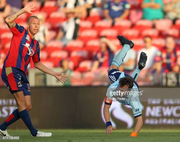 Alessandro Del Piero of Sydney FC is awarded a penalty after clashing with Taylor Regan of the Jets during the round 20 ALeague match between...