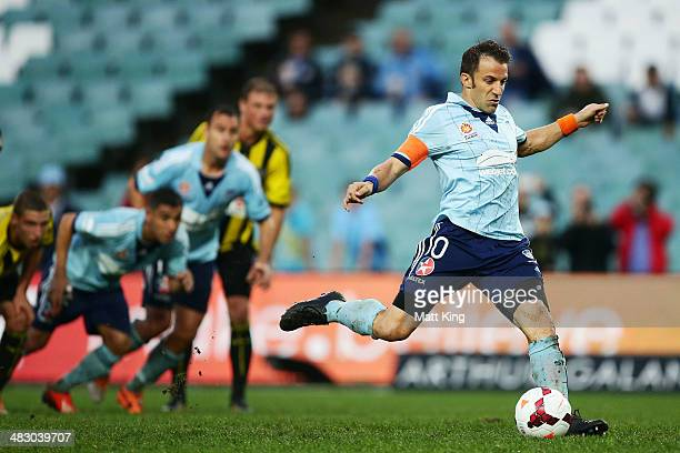 Alessandro Del Piero of Sydney FC kicks his first goal from a penalty kick during the round 26 ALeague match between Sydney FC and the Wellington...
