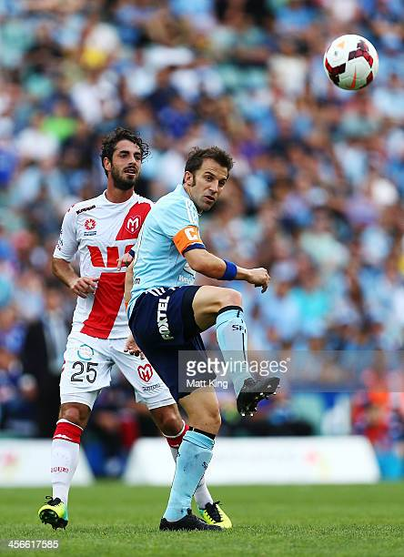 Alessandro Del Piero of Sydney FC passes the ball during the round 10 ALeague match between Sydney FC and the Melbourne Heart at Allianz Stadium on...