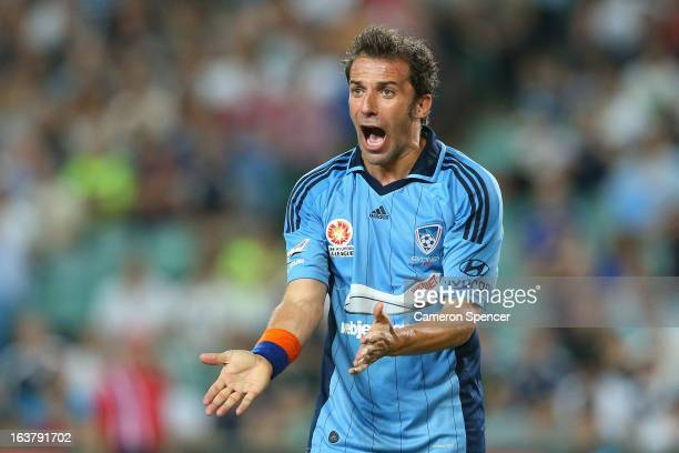 Alessandro Del Piero of Sydney FC reacts to a foul by a Victory defender during the round 25 ALeague match between Sydney FC and the Melbourne...