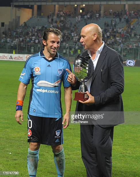 Alessandro Del Piero of Sydney FC receives a cup before the preseason friendly match between Padova Calcio and Sydney FC at Stadio Euganeo on August...