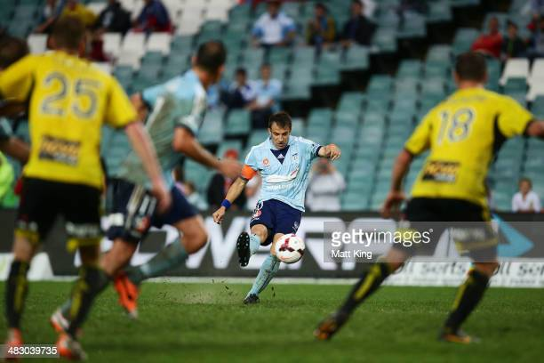 Alessandro Del Piero of Sydney FC scores his second goal during the round 26 ALeague match between Sydney FC and the Wellington Phoenix at Allianz...