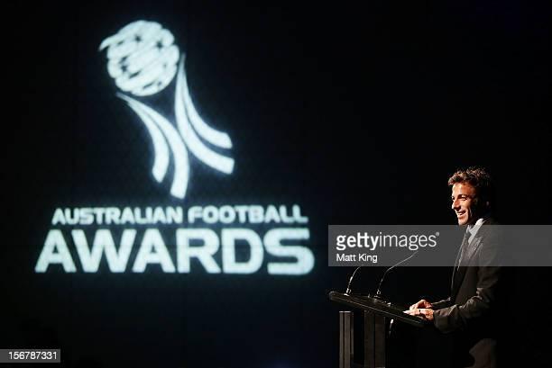 Alessandro Del Piero of Sydney FC speaks on stage during the 2012 Australian Football Awards at Sofitel Hotel on November 21 2012 in Sydney Australia