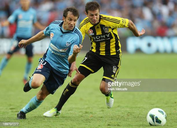Alessandro Del Piero of Sydney FC takes on Vince Lia of the Phoenix during the round 17 ALeague match between Sydney FC and the Wellington Phoenix at...