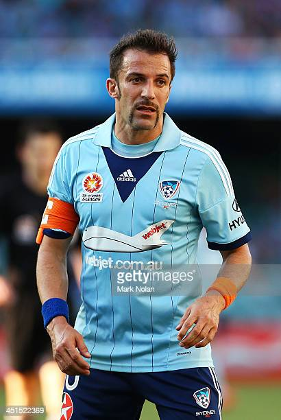 Alessandro Del Piero of Sydney is pictured with a moustache for 'Movember' during the round seven ALeague match between Sydney FC and the Wellington...