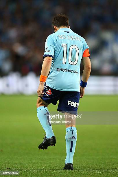 Alessandro Del Piero of Sydney leaves the field during the round eight ALeague match between Sydney FC and the Newcastle Jets at Allianz Stadium on...