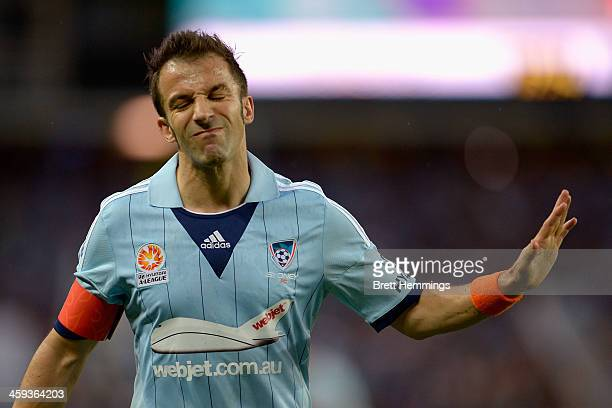 Alessandro Del Piero of Sydney shows his dejection during the round 12 ALeague match between Sydney FC and Brisbane Roar at Allianz Stadium on...