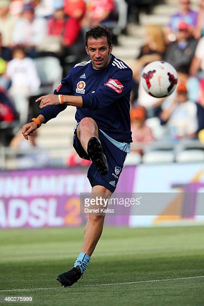 Alessandro Del Piero of Sydney strikes the ball during the pre match players warm up during the round 13 ALeague match between Adelaide United and...