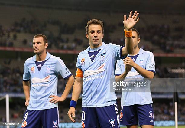 Alessandro Del Piero of Sydney waves good bye to the crowd after losing the ALeague Elimination Final match between the Melbourne Victory and Sydney...