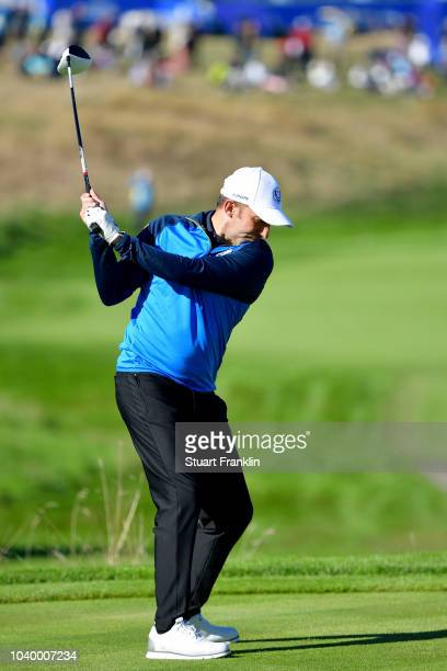 Alessandro Del Piero of Team Europe plays a shot during the celebrity challenge match ahead of the 2018 Ryder Cup at Le Golf National on September 25...