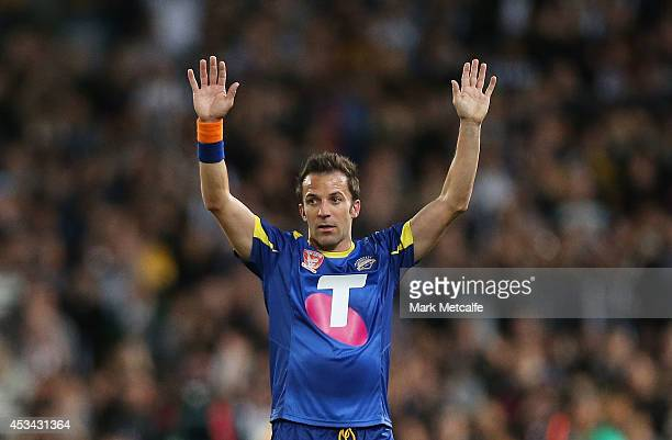 Alessandro Del Piero of the All Stars acknowledges the crowd after being substituted in the second half during the match between the ALeague All...