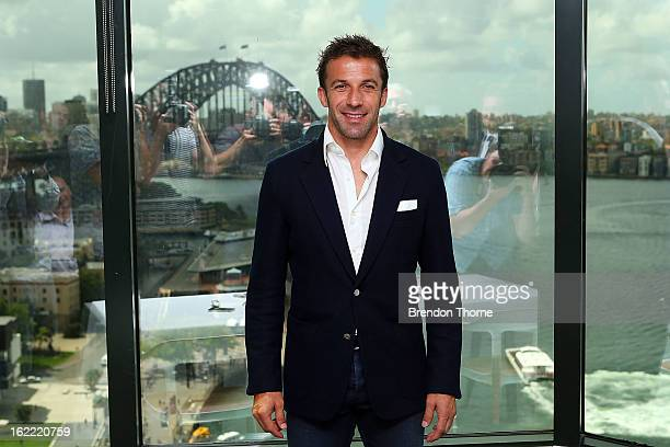 Alessandro Del Piero poses during an ALeague press conference at Gateway Building after resigning with Sydney FC on February 21 2013 in Sydney...