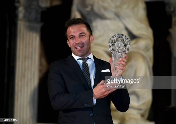 Alessandro Del Piero poses for a photo during an Italian Football Federation Hall Of Fame event on April 9 2018 in Florence Italy