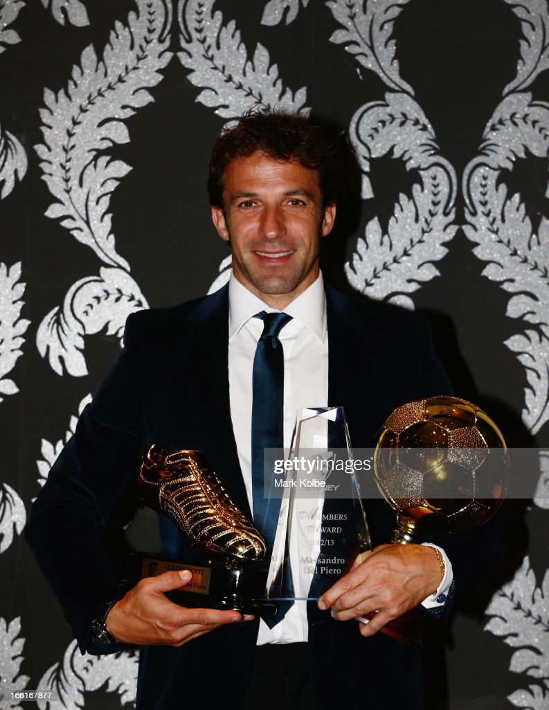 Alessandro Del Piero poses with the Golden Boot Award, the Sydney FC Members Award and the 2012/13 Sydney FC Player of the Year at the Sydney FC Sky Blue Ball at Doltone House on April 9, 2013 in Sydney, Australia.