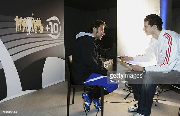 Alessandro Del Piero seen during a interview at the Major adidas F50 Tunit Launch Event on February 13 2006 in Munich
