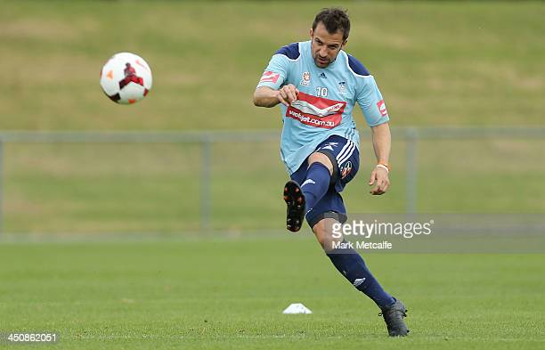 Alessandro Del Piero shoots at goal during a Sydney FC ALeague training session at Macquarie Uni on November 21 2013 in Sydney Australia