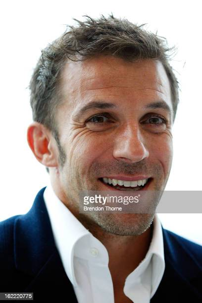 Alessandro Del Piero speaks to the media during an ALeague press conference at Gateway Building after resigning with Sydney FC on February 21 2013 in...