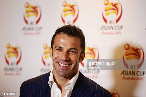 Alessandro Del Piero speaks to the media during the Asian Cup 2015 Ticket Launch at Four Seasons Hotel on April 2 2014 in Sydney Australia