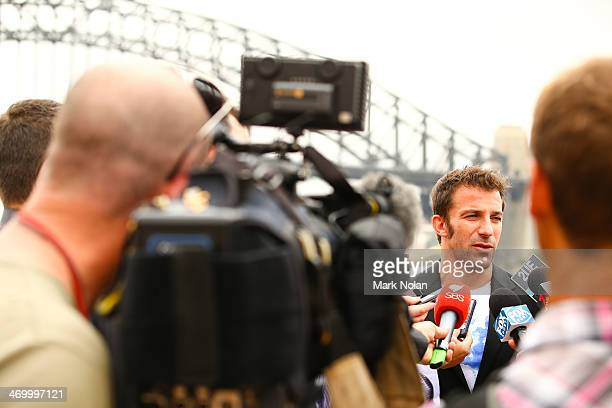 Alessandro Del Piero speaks to the press during a media opportunity ahead of the ALeague AllStars v Juventus FC match at Sydney Opera House on...