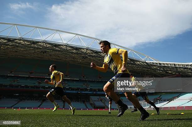 Alessandro Del Piero warms up during an ALeague All Stars training session at ANZ Stadium on August 9 2014 in Sydney Australia