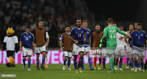 Alessandro Della Valle of San Marino jogs off the pitch after the FIFA 2018 World Cup Qualifier between Germany and San Marino at Stadion Nurnberg on...
