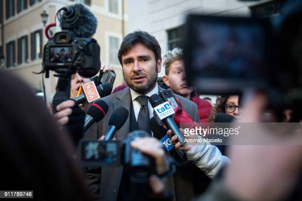 Alessandro Di Battista 5Star Movement speaks with journalists before the presentation of movement's parliamentary candidates for the upcoming general...