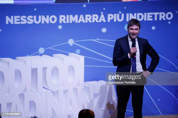 Alessandro Di Battista attends at the event organized by the M5S to present the law of citizenship income at the National Space Events Rome January...