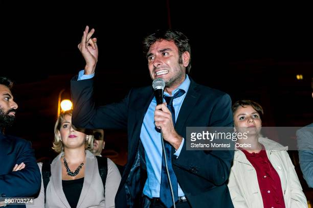 Alessandro Di Battista deputy Five star Movement during the demonstration by the 5 Star Movement in front of the the lower house of parliament...