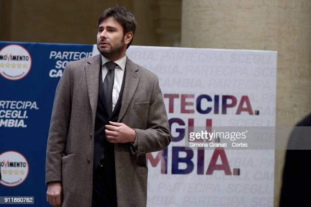 Alessandro Di Battista during the Presentation of the 5 Stars Movement candidates at the Tempio di Adriano on January 29 2018 in Rome Italy The...