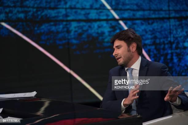 Alessandro Di Battista exponent of the 5Star Movement guest of the television program Che Tempo Che Fa
