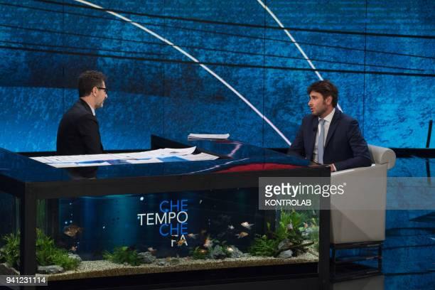 Alessandro Di Battista exponent of the 5Star Movement guest of the television program Che Tempo Che Fa with Fabio Fazio journalist