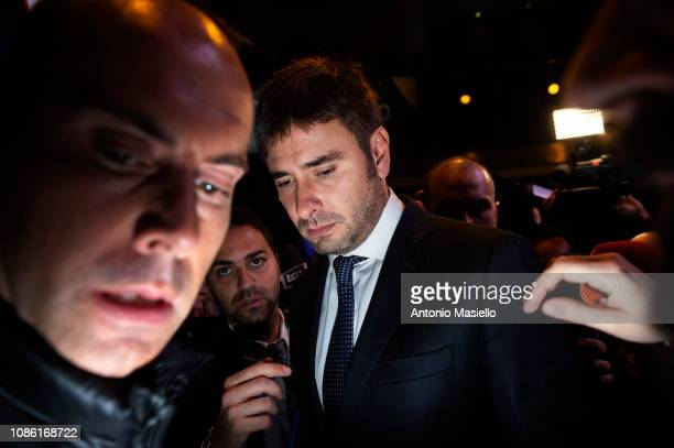 Alessandro Di Battista Five Star Movement member attends a meeting organized by 5star Movement to present new budget package law on January 22 2019...