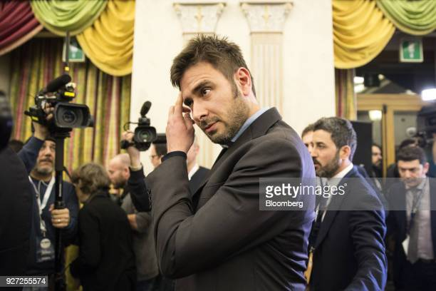 Alessandro Di Battista Italy's antiestablishment Five Star Movement lawmaker arrives to deliver a speech at the Five Star electoral center in Rome...