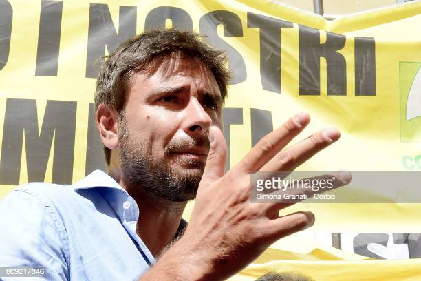 Alessandro Di Battista of Five Star Movement intervenes at the demonstration against CETA on July 5 2017 in Rome Italy Protesters are demonstrating...