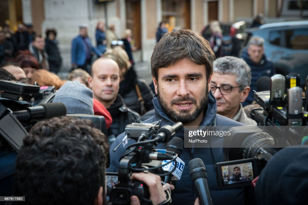 Alessandro Di Battista of the 5 Stars Movement, today launched in Piazza Montecitorio in Rome the next election campaign to be held in the early months of next year on December 7, 2017 in Rome, Italy.