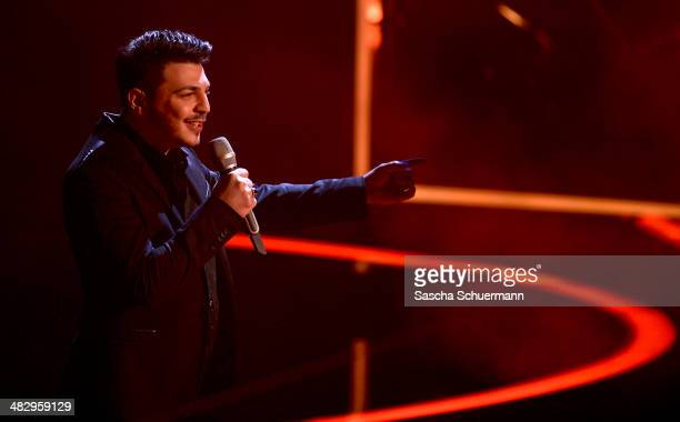 Alessandro Di Lella performs at the rehearsal for the 2nd 'Deutschland sucht den Superstar' show at Coloneum on April 5 2014 in Cologne Germany