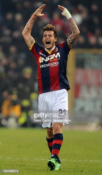 Alessandro Diamanti of Bologna FC celebrates scoring his team's equalising goal during the Serie A match between Bologna FC and AC Milan at Stadio...