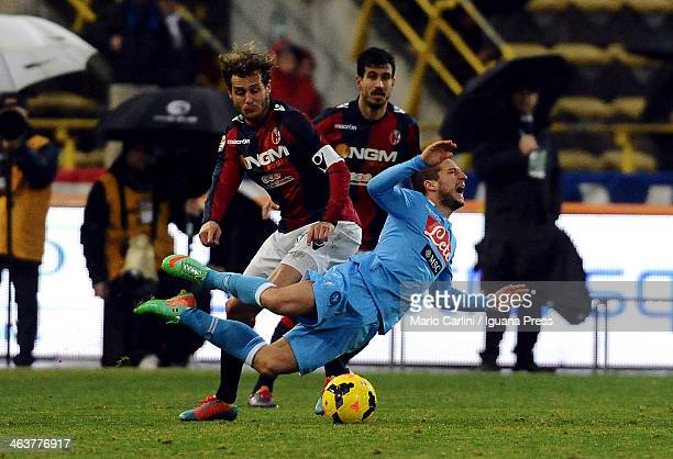 Alessandro Diamanti of Bologna FC competes the ball with Dries Mertens of SSC Napoli during the Serie A Bologna FC and SSC Napoli at Stadio Renato...