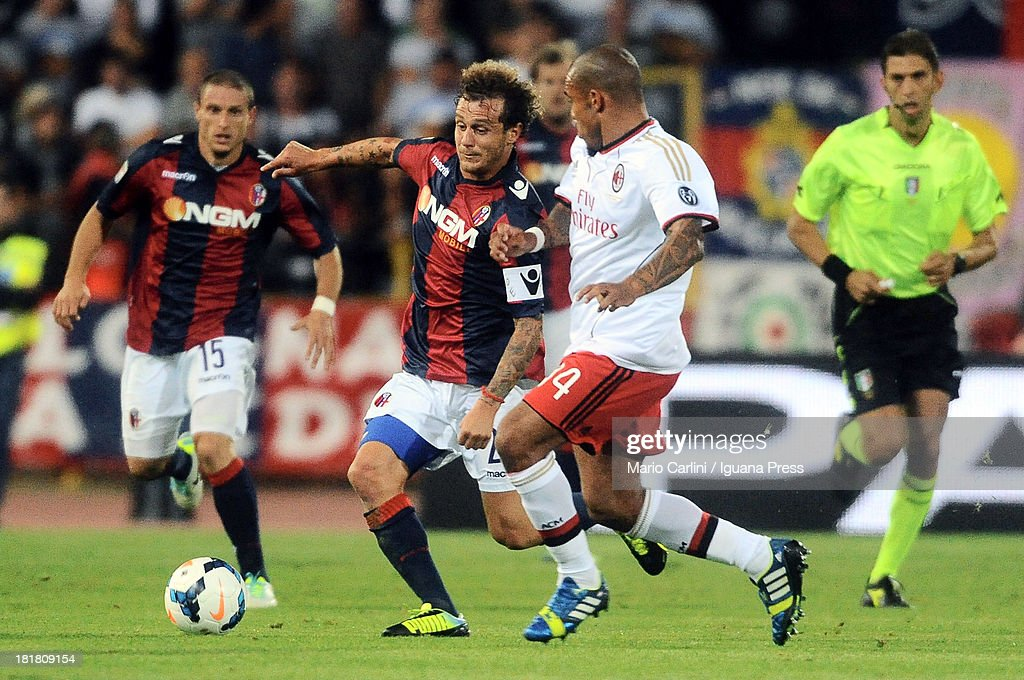 Alessandro Diamanti # 23 of Bologna FC in action during the Serie A match between Bologna and AC Milan at Stadio Renato Dall'Ara on September 25, 2013 in Bologna, Italy.