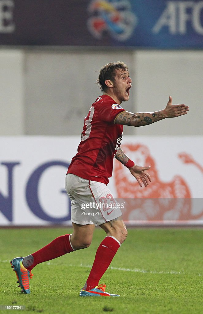 Alessandro Diamanti of Guangzhou Evergrande reacts during the AFC Asian Champions League match between Guangzhou Evergrande and Yokohama F. Marinos at Tianhe Sports Center on April 22, 2014 in Guangzhou, China.