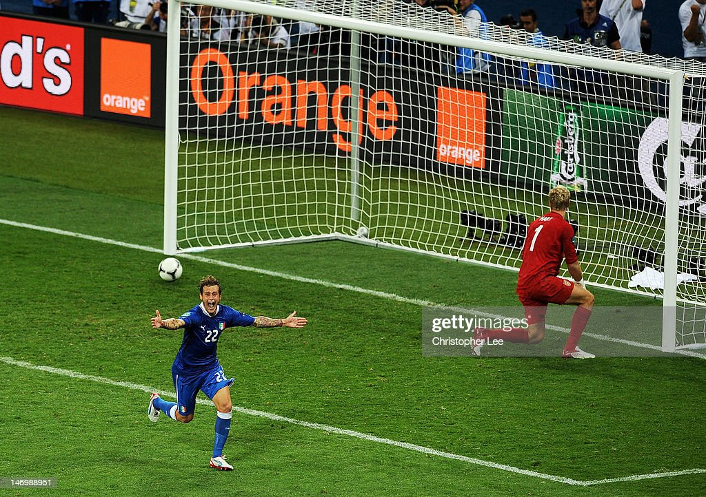 Alessandro Diamanti of Italy celebrates scoring the winning penalty during the UEFA EURO 2012 quarter final match between England and Italy at The Olympic Stadium on June 24, 2012 in Kiev, Ukraine.