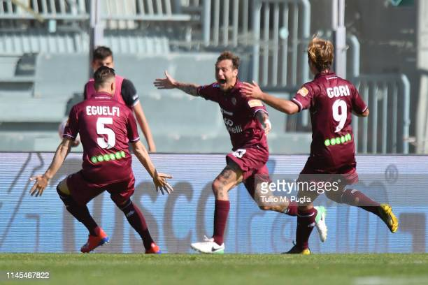 Alessandro Diamanti of Livorno celebrates after scoring the first equalizing goal during the Serie B match between AS Livorno and US Citta di Palermo...