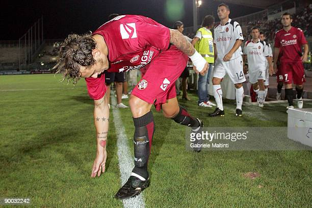 Alessandro Diamanti of Livorno in action during the Serie A match between Livorno and Cagliari at the Armando Picchi Stadium on August 23 2009 in...