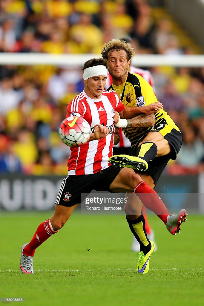 Alessandro Diamanti of Watford challenges Cedric Soares of Southampton during the Barclays Premier League match between Watford and Southampton at Vicarage Road on August 23, 2015 in Watford, United Kingdom.