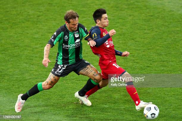 Alessandro Diamanti of Western United and Joe Caletti of Adelaide United competes for the ball during the A-League match between Western United FC...