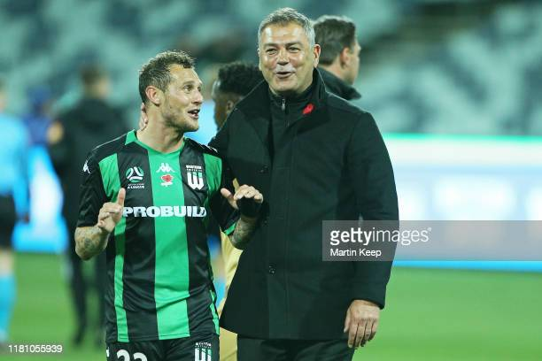 Alessandro Diamanti of Western United and Mark Rudan, Head Coach, of Western United celebrate during the Round 5 A-League match between Western...