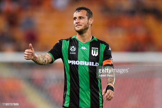 Alessandro Diamanti of Western United gestures during the round 10 ALeague match between the Brisbane Roar and Western United at Suncorp Stadium on...