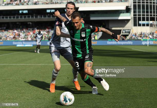 Alessandro Diamanti of Western United is challenged by Joshua Hope of the Victory during the round nine A-League match between Western United and...