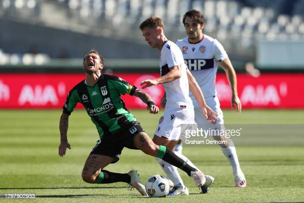 Alessandro Diamanti of Western United is fouled during the A-League match between Western United and the Perth Glory at GMHBA Stadium, on January 23...